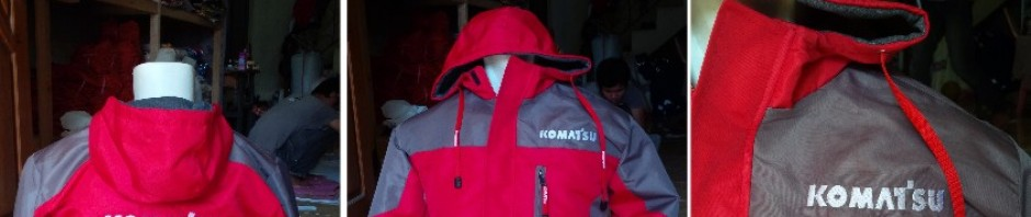 jaket parasut lapangan tambang waterproof Komatsu