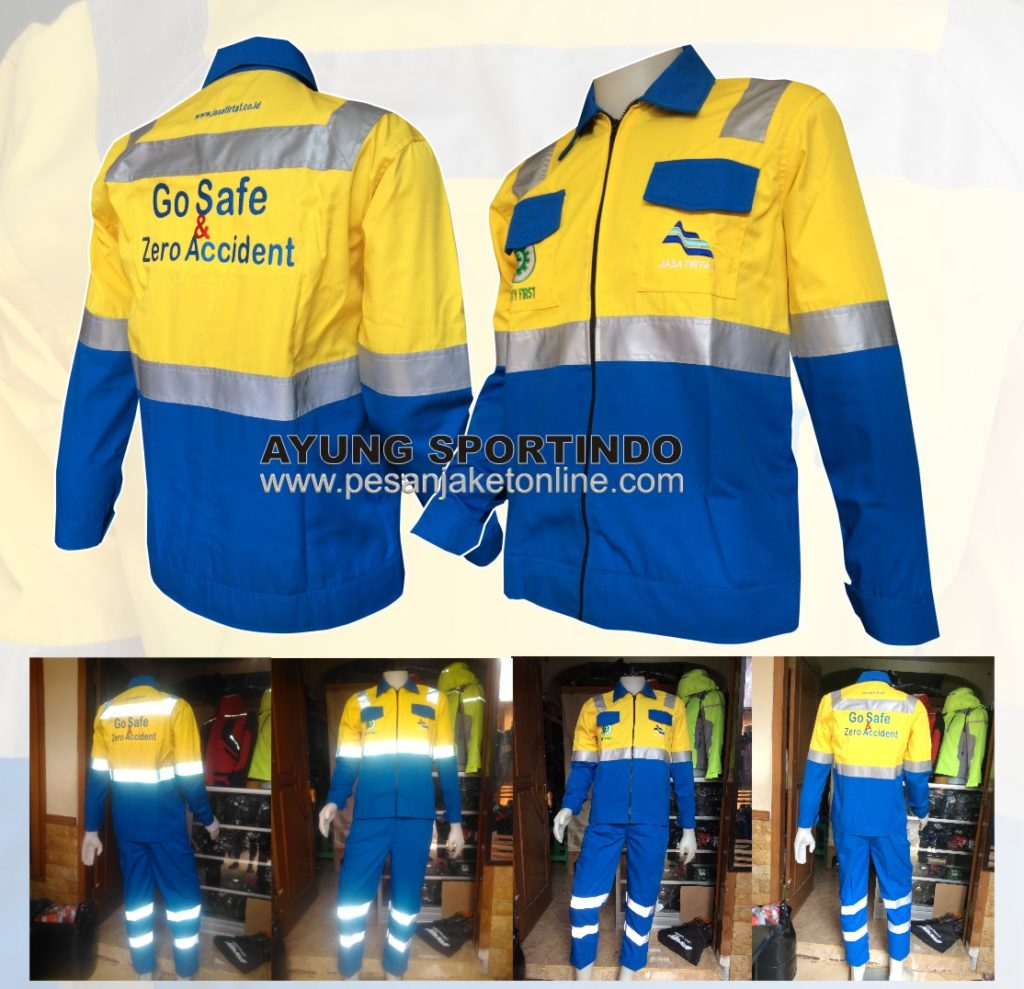 baju seragam wearpack kerja safety jasa tirta biru kuning